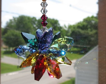 Swarovski Crystal Suncatcher, Chakra Suncatcher, Multi Colors Starburst, Crystal Suncatcher Ornament, Keira's Crystal Creations