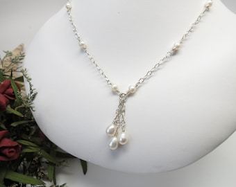 Bridal Necklace, Freshwater Pearls Necklace In Sterling Silver, Bridal Jewelry, June Birthstone, Wedding Jewelry, Keira's Crystal Creations