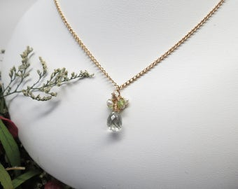 Green Amethyst Necklace, With Freshwater Pearls And Peridot, Delicate And Elegant Necklace, Gold Fill Necklace