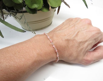 Peruvian Pink Opal Bracelet, October Birthstone, Wire Wrapped Opal Bracelet In Sterling Silver, 6.5-8 Inches, Keira's Crystal Creation