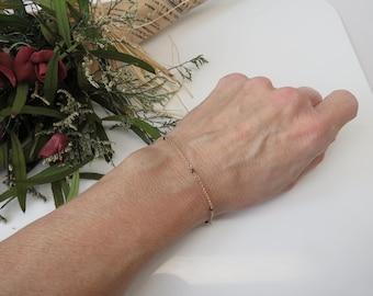 Black Diamond Bracelet, Genuine Diamond Bracelet In 14K Yellow Gold, April Birthstone, 6-8.5 Inches Length, Delicate wire wrapped Bracelet