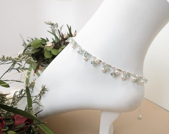 Aquamarine With Pearl Anklet- March Birthstone- Gemstone Anklet In Sterling- Moss Aquamarine Anklet- 9-10.25 Inches- Something Blue Brides