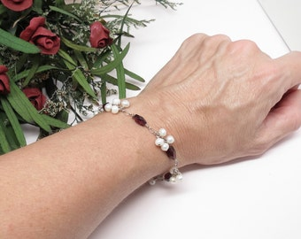 Garnet Bracelet, January Birthstone, Red Gemstone Bracelet, Sterling Silver Bracelet, Cluster Pearls, Something Red, Chakra Bracelet