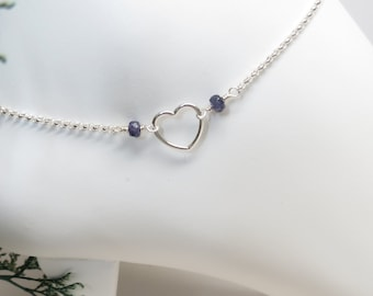 Birthstone Anklet With Open Heart, Heart Anklet With Gemstones In Sterling Silver, Something Simple, Custom Your Anklet, Everyday Wear