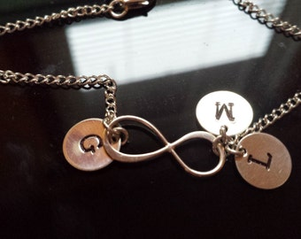 Infinity Set Three Initial Bracelet, Personalized Initial Bracelet, Hand Stamped Infinity Bracelet, Sterling Silver Infinity Initial Jewelry