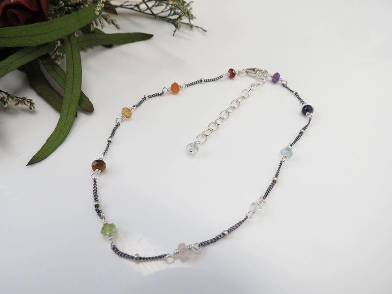 Meditation Jewelry Chakra Jewelry 8.75-10.25 Chakra Anklet Multi Gemstones In Oxidized Sterling Silver Reiki Spiritual Healing