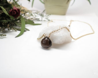 Smokey Quartz Pendant Necklace, Brown Gemstone Necklace In 14K Gold Filled, 16.5-18.5 Inches Length, Single Stone Necklace, Chakra Necklace