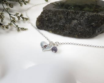 Monogram Heart Anklet With Birthstone, Initial Heart Anklet In Sterling Silver, Heart Charm Anklet, Birthstone Anklet, 8-10.5 Inches Length