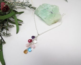 Seven Birthstone Necklace, Custom Your Grandmother's, Mother's Necklace, Family Birthstone Necklace, Set Of 7 Birthstones, 16-20 Inches