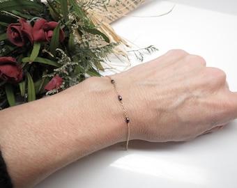 Genuine Black Diamond Bracelet, Diamond Bracelet In 14K Yellow Gold, April Birthstone,Delicate wire wrapped Bracelet, 6-8.5 Inches Length
