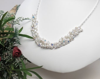 Bridal Necklace, Swarovski Pearls And Crystals Necklace, Crystal Necklace In Sterling Silver, Wedding Jewelry, Keira's Crystal Creations