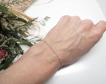 Gary-White Diamond Bracelet, Diamond Bracelet In 14K Yellow Gold, April Birthstone, 6-8.5 Inches Length, Delicate wire wrapped Bracelet