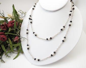 Black Onyx Necklace, Swarovski Pearls Necklace, Black Gemstone Necklace, Elegant Necklace, Something Black, Keira's Crystal Creations
