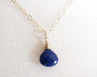 Lapis Necklace, Gold Fill Lapis Necklace, High Quality, Great Gift Someone Special, Something Blue, Elegant Delicate,  Everyday Wear Jewelry