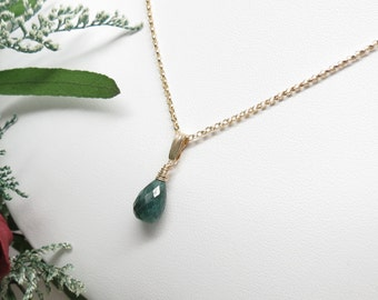 Emerald Necklace, Gemstone Necklace In Gold Filled, May Birthstone Necklace, Green Gemstone, Emerald Pendant, Keira's Crystal Creations