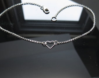 Open Heart Anklet, Floating Heart Anklet, Sterling Silver Heart Anklet, Delicate Heart Anklet, Bridesmaids Gift, 8.5-10.5 Inches Length