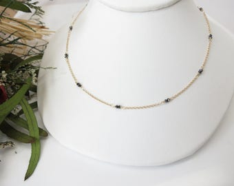 Black Diamond Necklace, Genuine Diamond Necklace In 14K Yellow Gold, April Birthstone, 16.25-18.25 Inches Length, Delicate Chain Necklace