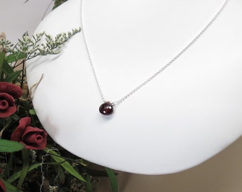 Garnet Necklace, January Birthstone, Dark Red Birthstone In Sterling Silver, 16.5-19 Inches Length,  Red Gemstone, Keira's Crystal Creations