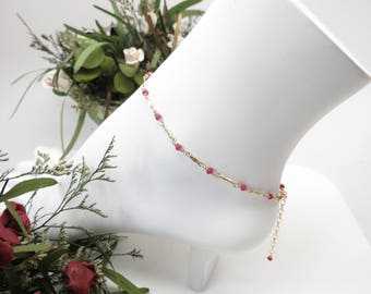 Ruby Anklet, July Birthstone, Pink-Red Gemstone Anklet In Gold Filled, 8.75-10.5 Inches Length, Ruby Jewelry, Wire Wrapped Ruby Anklet