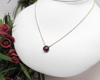 Garnet Necklace, January Birthstone, Dark Red Birthstone In14K Gold Filled 16-18.5 Inches Length, Red Gemstone, Keira's Crystal Creations