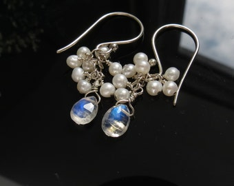 Flashy Blue Moonstone With Pearls Earring, June Birthstone, Rainbow Moonstone Sparkly Blue Earrings, Gemstone Earrings, Everyday Wear