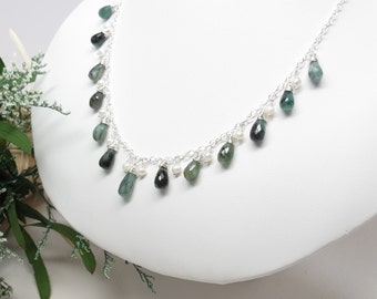 Emerald Necklace, Gemstone And Pearls Necklace In Sterling Silver, May Birthstone Necklace, Green Gemstone, Keira's Crystal Creations