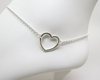 Heart Anklet, Sterling Silver Anklet, Open Heart Anklet, Something For The Bridesmaids, Something Simple, Everyday Wear