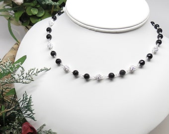Black Onyx Necklace, Black Onyx With Pave Crystals Necklace, Black Gemstone Necklace, Elegant Necklace, Keira's Crystal Creations