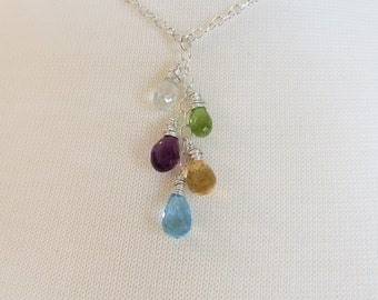 Five Birthstone Necklace, Custom Design Your Mother's Necklace, Grandmother's Necklace, Family Birthstone Necklace, Set Of 5 Stones
