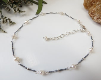 Pearl Anklet, June Birthstone, Freshwater Pearl Anklet In Oxidized Sterling Silver, Delicate Pearl Anklet, 9-10.5 Inches Length, Wedding