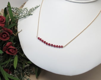Ruby Necklace, Red Gemstone Necklace, July Birthstone Necklace, Red Ruby Necklace 14K Gold Filled, 16-18 Inches Keira's Crystal Creations