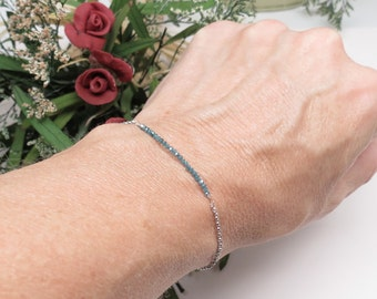Blue Diamond Bracelet, Delicate Genuine Diamond Bracelet In 14K White Gold, April Birthstone, 6-8 Inches Length, Diamond Bar Bracelet