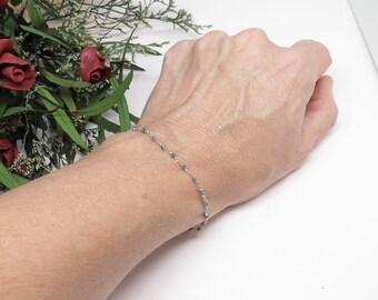 Blue Diamond Bracelet, Delicate Genuine Diamond Bracelet In 14K Yellow Gold, April Birthstone, 6-8 Inches, Diamond Wire Wrapped Bracelet