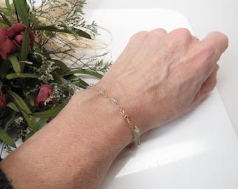 Aquamarine Bracelet, Light Blue Gemstone Bracelet In Gold Filled, March Birthstone, Delicate Aquamarine Jewelry, 6 3/4-8 1/2 Inches