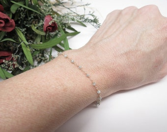 Genuine White Diamond Bracelet, Grey-White Diamond Bracelet 14K Yellow Gold, April Birthstone,6-8 Inches Length, Diamond Wire Wrap Bracelet
