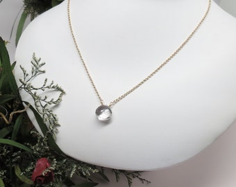 Clear Quartz Pendant Necklace, Crystal Quartz Necklace, April Birthstone, Gemstone Necklace In 14K Gold Filled 16.25-19 Inches Length