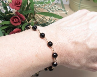 Black Onyx Bracelet, Black Gemstone Bracelet In 14K Gold Filled, Black Gemstone Bracelet, 7 - 8 Inches, Keira's Crystal Creations