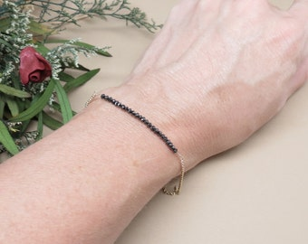 Black Diamond Bracelet, Delicate Genuine Diamond Bracelet In 14K Yellow Gold, April Birthstone, 6-8.5 Inches Length, Diamond bar Bracelet