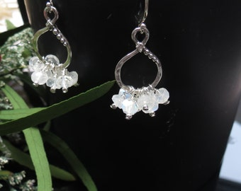 Flashy Blue Moonstone Earrings, Rainbow Moonstone Earrings, Spakrly Blue Elegant and Delicate , June Birthstone, Keira's Crystal Creations