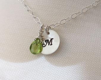 Personalized Hand Stamped Jewelry, Gemstone Necklace, Personalized Bridesmaids Necklace,  Personalized Mother's Necklace, Initial Necklace
