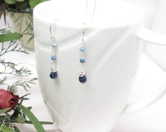 Peruvian Blue Opal Earrings, October Birthstone Earrings, Blue Gemstone Earrings Sterling Silver, Birthstone Earrings, Something Blue