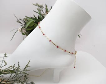 Longido Ruby Anklet, July Birthstone, Red Gemstone Anklet Gold Filled, 9-10.25 Inches Length, Ruby Jewelry, Wire Wrap Ruby Anklet