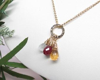 Set Three Birthstone Necklace, Custom Your Family Birthstone Necklace, Personalized Mother's Necklace, Grandmother's Necklace