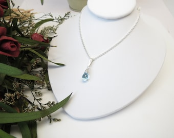 Blue Topaz Pendant Necklace, Blue Gemstone Necklace In Sterling Silver, December Birthstone Necklace, Keira's Crystal Creations