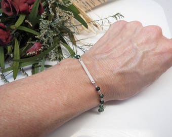 Emerald Bar Bracelet, Green Gemstone Bracelet In Sterling Silver - Gold, 6-8.5 Inches Length, May Birthstone, Wire Wrapped Bracelet