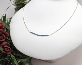 Blue Diamond Necklace, Delicate Genuine Diamond Necklace In14K Yellow Gold, April Birthstone, 15-20 Inches Length, Diamond Bar Necklace
