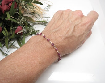 Natural Ruby Bracelet, July Birthstone, Wire Wrapped Ruby Bracelet In Sterling Silver, Pink Gemstone, 6.5-8 Inches Length, Keira's Crystals