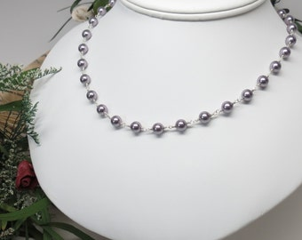 Swarovski Pearl Necklace, Mauve Pearl Necklace In Sterling Silver, Bridal Necklace, Simple Pearl Necklace, Bridesmaids Pearl Necklace