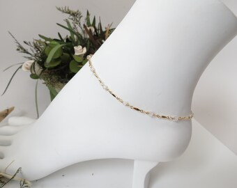Cubic Zirconia Anklet, White Cubic Zirconia Anklet In Gold Filled, April Birthstone, 9-10.5 Inches Length, Clear Gemstone Anklet