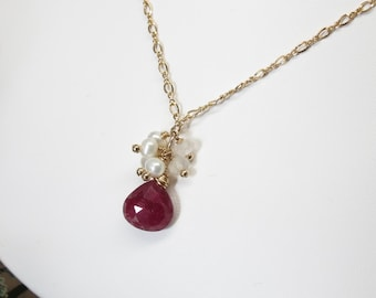 Ruby Pendant Necklace, Red Gemstone Necklace In Gold filled, July Birthstone Necklace, Dark Red Ruby Necklace, Keira's Crystal Creations